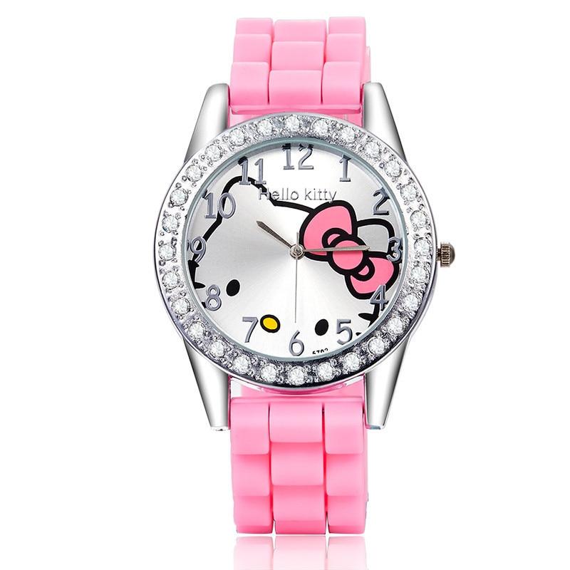 Korean Fashion Creative Cartoon Kitty Cat Table Silicone Watch Trend Cute Student Watch Female