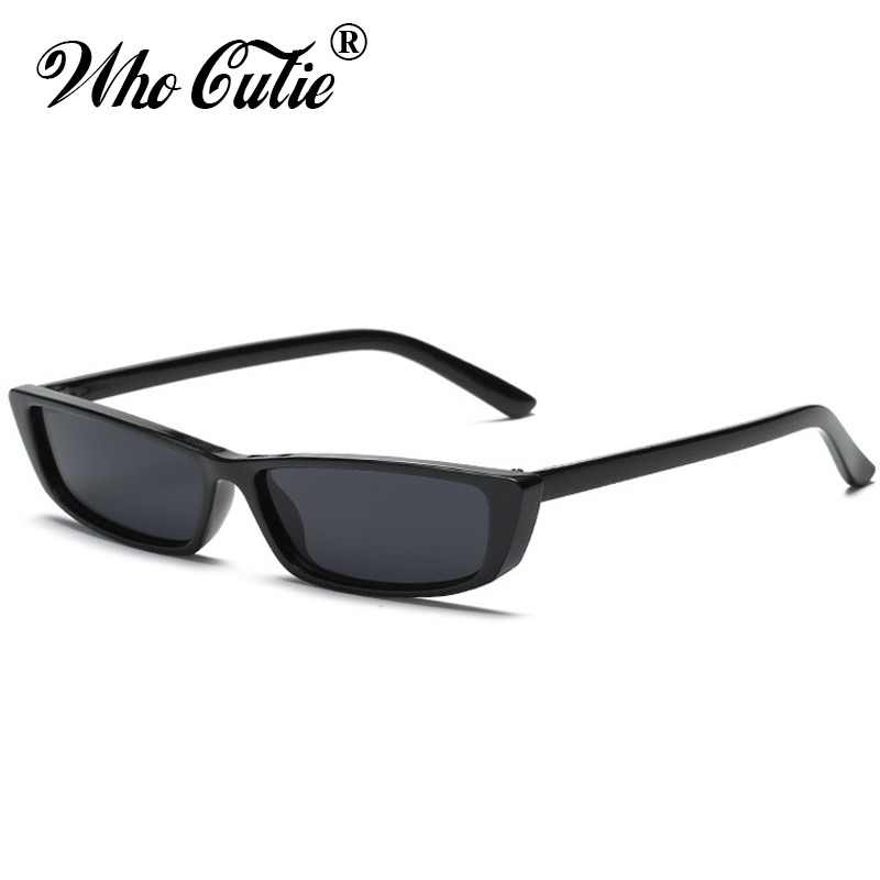 631e22f32469 WHO CUTIE 90S Sunglasses Women Vintage Fashion Small Rectangular Frame  Black Red Cat Eye Sun Glasses