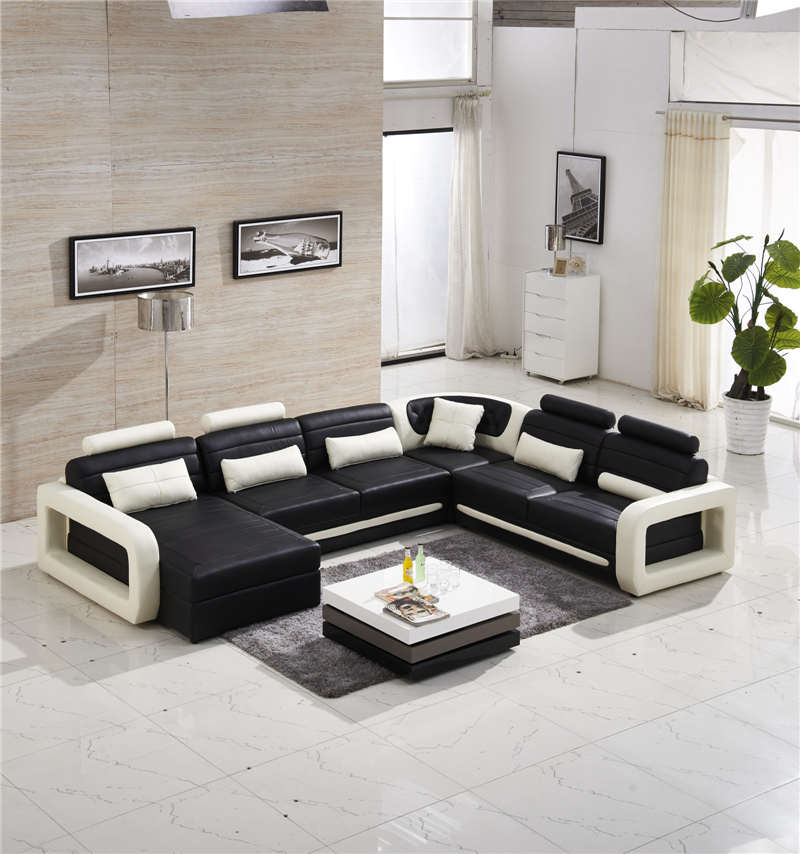 Best Genuine Leather Sectional Sofa: Top Genuine Leather U Shape Sofa 0414 8807-in Living Room