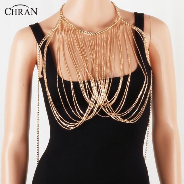 Chran mujeres señora punk gargantilla borla hombro collar joyería Cadena de  playa costura desgaste superior arnés 962838bbba28