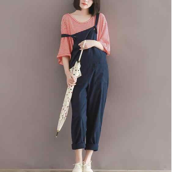 Ретро плюс размер женские комбинезоны брюки синий хлопок лен комбинезоны ретро 2019 женский большой карман комбинезон; полная длина брюки