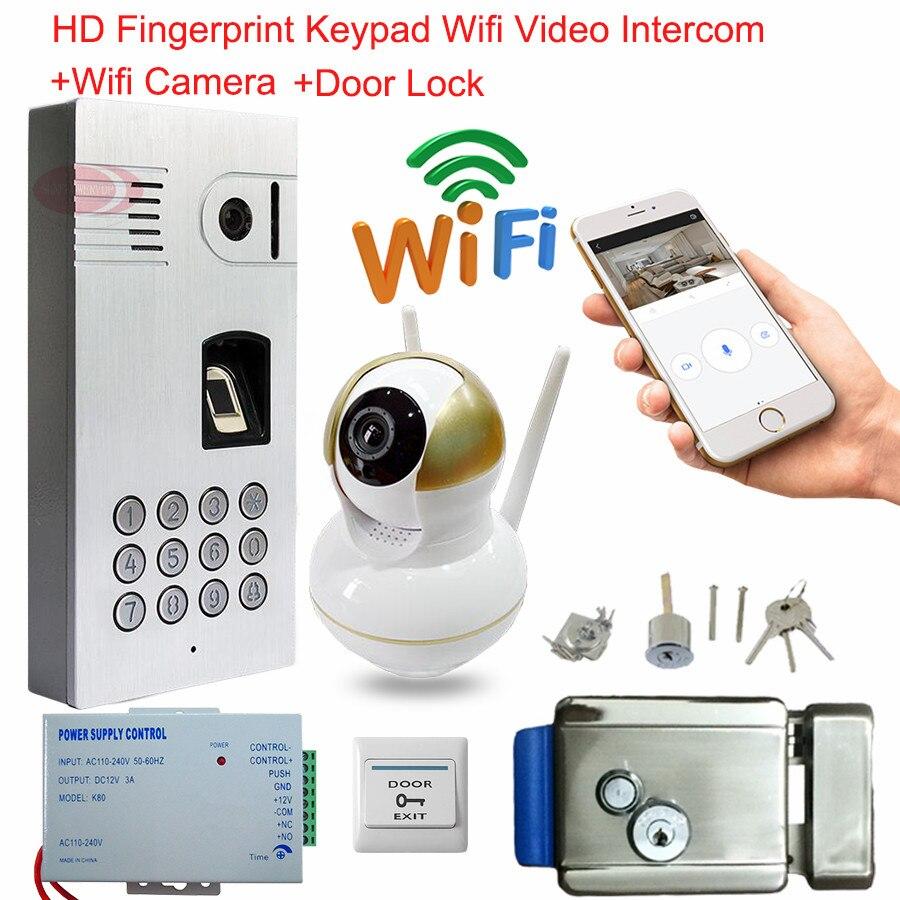 Wifi Android IOS Doorbell Fingerprint Keypad Wireless Network Door Bell With Camera Waterproof IP66 Intercom Electronic