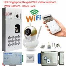 Wifi Android IOS Doorbell Fingerprint Keypad Wireless Network Door Bell With Camera Waterproof IP66 Intercom+Electronic Lock Kit
