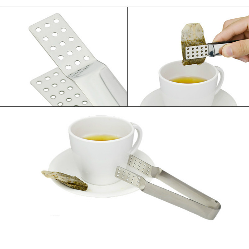 Tea Bag Clip Stainless Steel Resistant Teabag Quality Food Set Clip Stainless Steel Tea Bag Tong Squeezer Food Clips