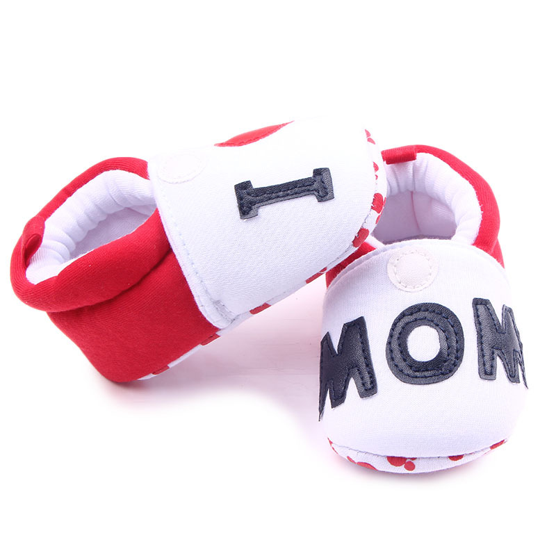 Cute First Walkers Spring Autumn Soft Bottom Baby Shoes Baby Boy Girl Anti-Slip Slippers Print I Love MOM/DAD Baby Couple Shoes