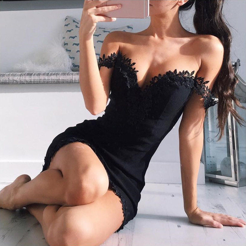 2017 Fashion New Women <font><b>Bodycon</b></font> Slash Neck Lace Short Sleeve Pencil <font><b>Dress</b></font> Ladies Evening Party Bandage <font><b>Sexy</b></font> Mini <font><b>Dress</b></font> image