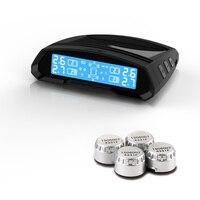 CAREUD T802 Solar Power Car TPMS Tire Pressure Monitoring System Wireless LCD Display PSI BAR 4