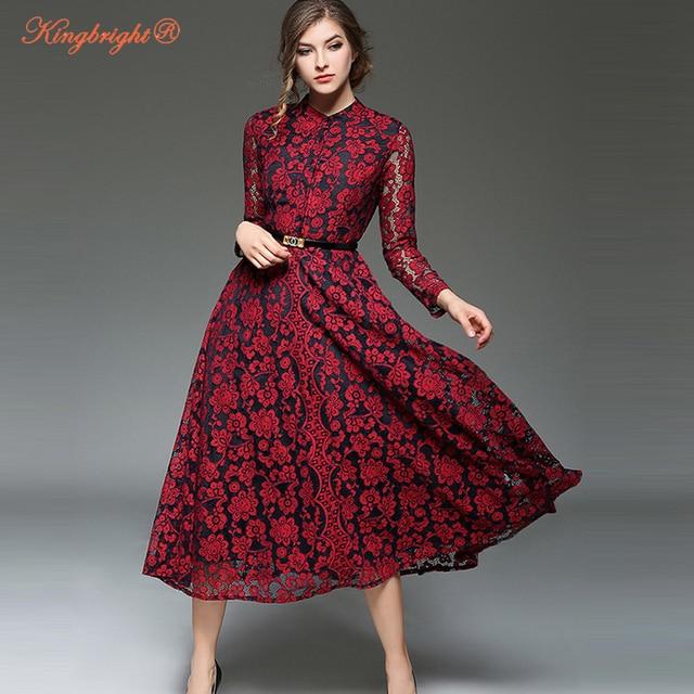 Re Brillante Estate Delle Donne Vestito Lungo Manica Lunga Sexy Lace Party  Dress Casual Elegante Caviglia 55823aebb38