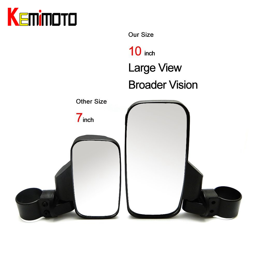 KEMiMOTO 1.75 2 Side Mirrors Break-away mirror for Polaris RZR XP1000 RZR 900 XP 4 Large Wide Rear view Mirror Rearview mirror