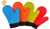 2 Pcs In A Pair Heat Protection BBQ Cooking Silicone Baking Oven Mitts With Quilted Lining