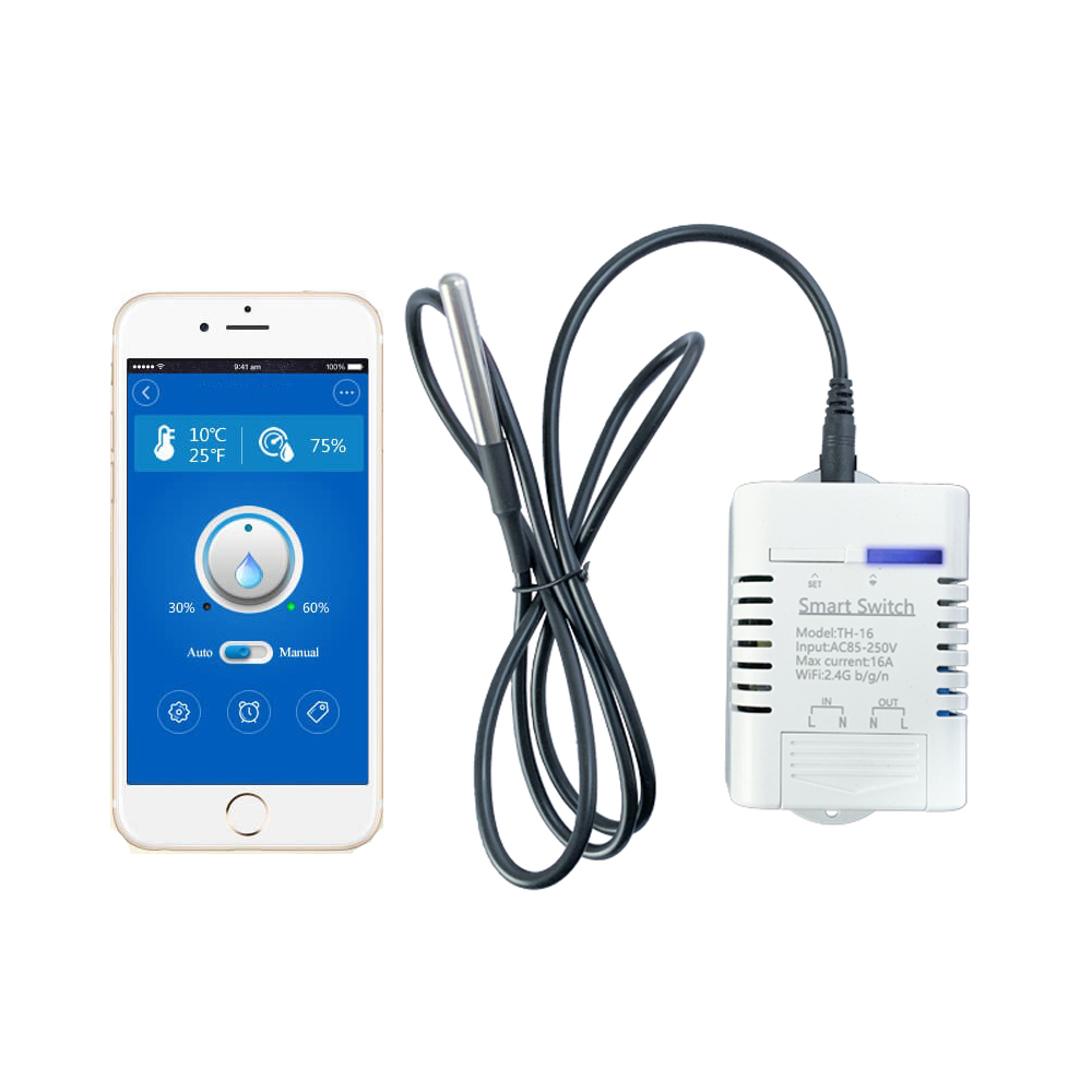 Mobile Phone APP WiFi Control Smart Switch Temperature Humidity Measurement Monitor Controller Home Automation