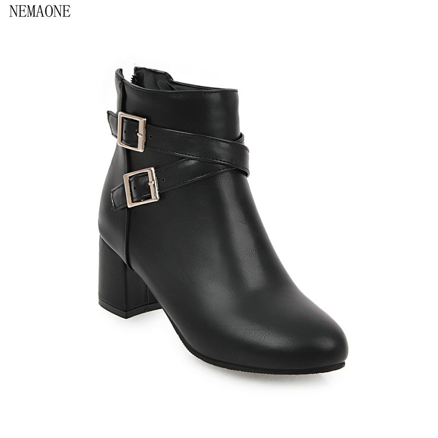 NEMAONE Autumn spring female ankle boots buckle square heels round toe platform pu soft leather women fashion boots mini penlight 2000lm waterproof led flashlight torch 3 modes zoomable adjustable focus lantern portable light use aa 14500 m29