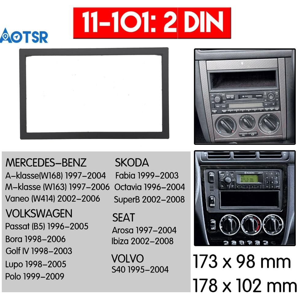 Double Din Radio Fascia For Volkswagen VW Passat B5 Bora Golf IV GPS DVD Stereo CD Panel Dash Mount Installation Trim Kit Frame