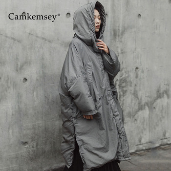CamKemsey 2019 New Thick Down Cotton Padded Warm Winter Coats Women Elegant Side Split Big Size Hooded Long Jackets For Women