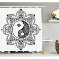 Vixm アジア陰陽文字運動と調和マクロコスモス曼荼羅シャワーカーテン浴室