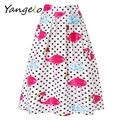 2016 New Fashion Women Summer Midi Skirts Flamingos Printing skirts High Waist Pleated A-line Skirt