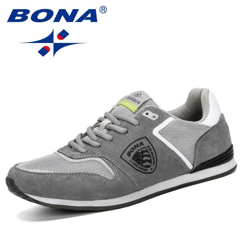 BONA 2019 Spring Autumn Fashion Men Sneakers Breathable Mesh Men's Casual Shoes New Summer Soft Krasovki Men Leisure Footwear