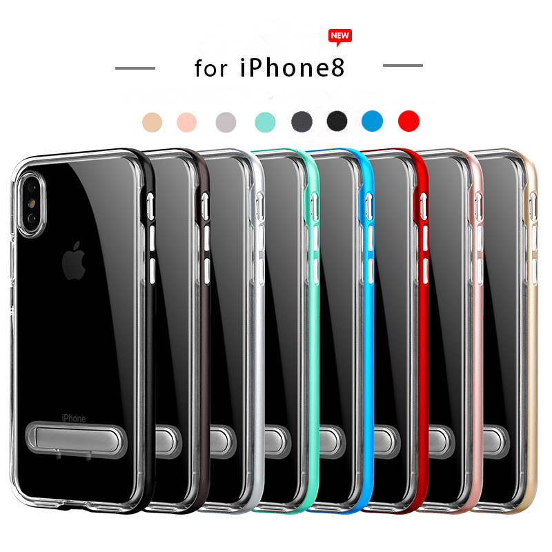 For iPhone X Luxury Case Ultra Thin Silicon TPU Cover Hard PC Frame Case Stand For Girls iPhone 6 6S 7 8 Plus Finger Ring Coque