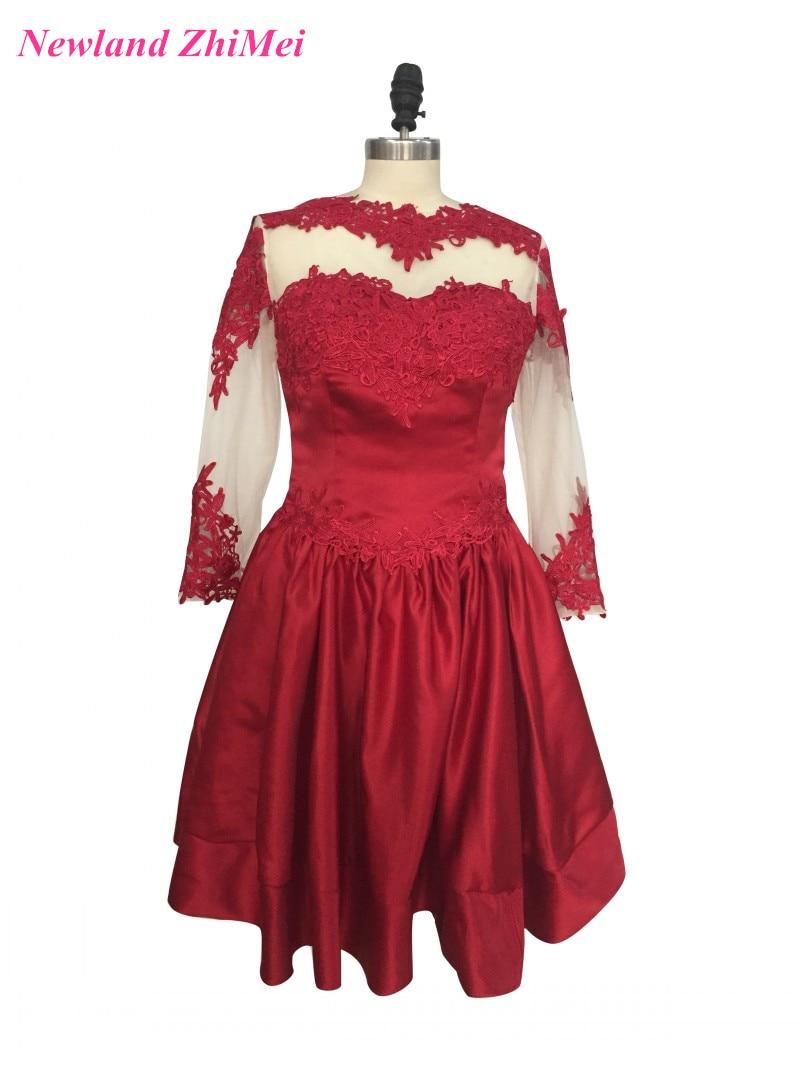 Burgundy Mini   Cocktail     Dress   Hot Sale Long Sleeve Appliqued Satin Party   Dresses   feestjurken 2017
