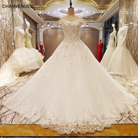 LS97056 elegant lace wedding dress ball gown crystal wedding gowns robe de mariage 2018 real photos