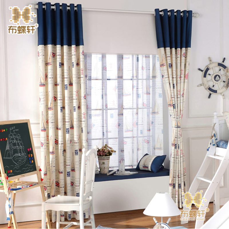 Mediterranean Sails Boat Cartoon Childrenu0027s Bedroom Eco Friendly Curtains  For Boys Fabric Blue Stitching Kids