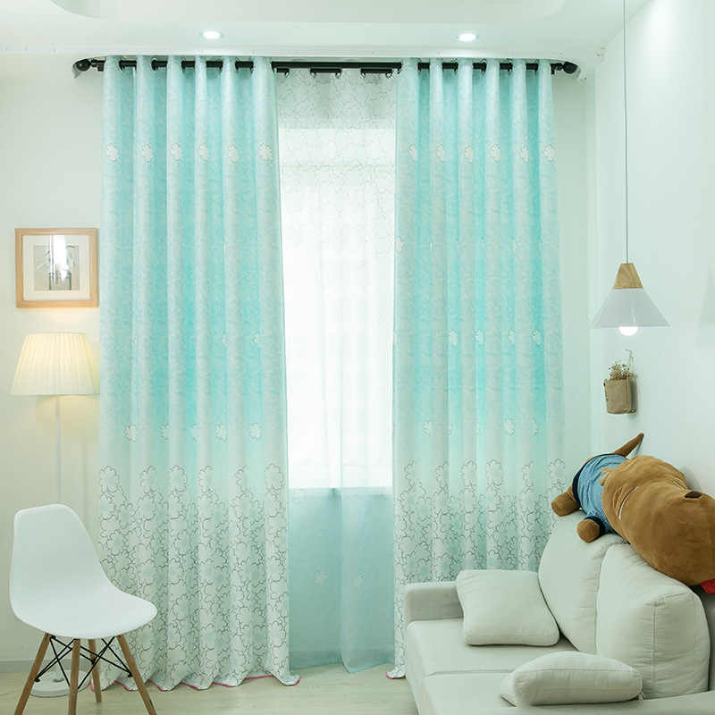 Simple Modern Warm Curtains for Living Dining Room Bedroom Flower Print Curtain Children Room Curtains