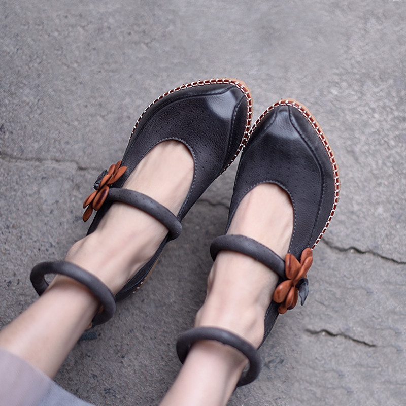 Artmu Woman Shoes Cowhide Mary Janes Handmade Genuine Leather Shoes Vintage Shoes Casual Hasp Woman Flats