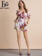 Baogarret Casual Holiday Summer Suits Women's lantern Sleeve Slash neck Short T-shirt+Floral Print Shorts Two Pieces Set цена