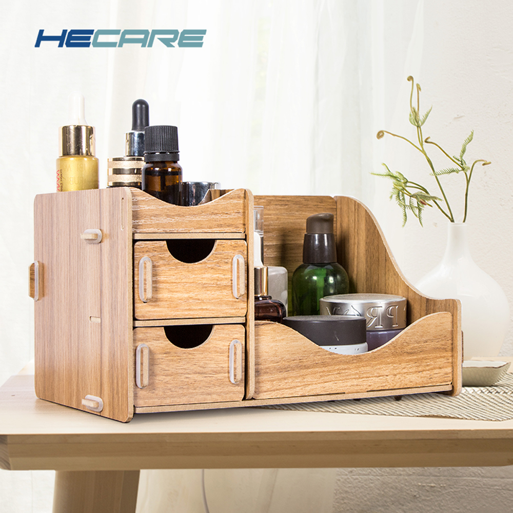 HECARE Holz Lagerung Box für Kosmetik Umweltfreundliche Holz Bord Make-Up <font><b>Organizer</b></font> Wenig Home Office <font><b>Desktop</b></font> Schublade <font><b>Organizer</b></font> New image