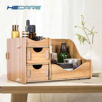 HECARE Wooden Storage Box for Cosmetics Eco-Friendly Wood Board Makeup Organizer Little Home Office Desktop Drawer Organizer New