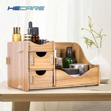 HECARE Holz Lagerung Box für Kosmetik Umweltfreundliche Holz Bord Make-Up Organizer Wenig Home Office Desktop Schublade Organizer New(China)