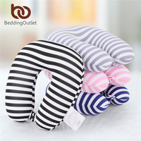 BeddingOutlet Microbeads U Shape Neck Pillow Stripe Transfer Printing Travel Pillow For Airplane Foam With Button