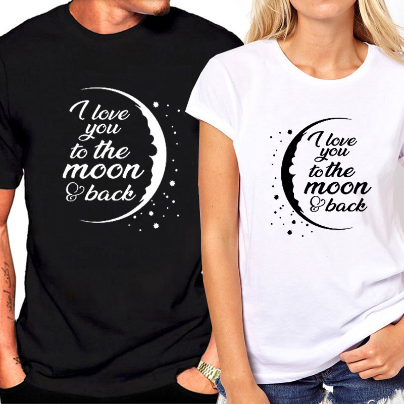 4871d027b Summer New Couples T Shirt for Lover Letter Print I Love You To The Moon Funny  T-shirt Women Tops Matching Couple Clothes | AllAboutYou