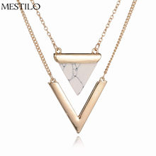 MESTILO Marble Necklaces White Black Faux Stone 2 Layer Choker Chain V Shape Triangle Jewelry Pendants Women Costume Accessory(China)