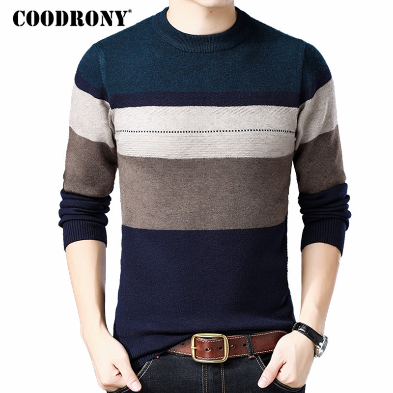COODRONY Wool Pullover Sweaters Mens Cashmere Winter O-Neck Homme Thick Casual Warm