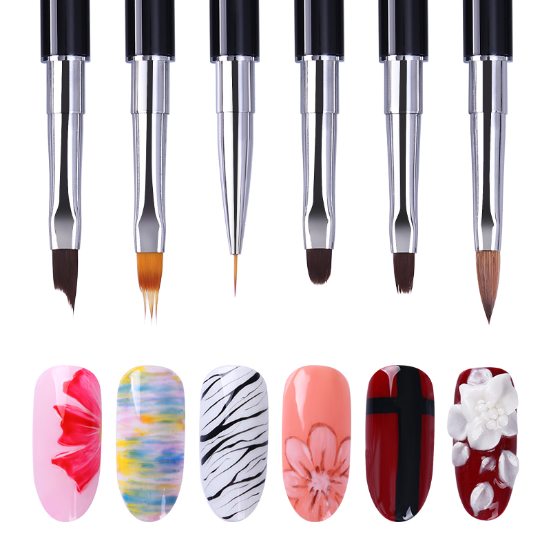 1 Pc Black Dual-ended Acrylic Painting Brush Liner Pen Drawing UV Gel Brush Spatula Tool Manicure Nail Art Tool
