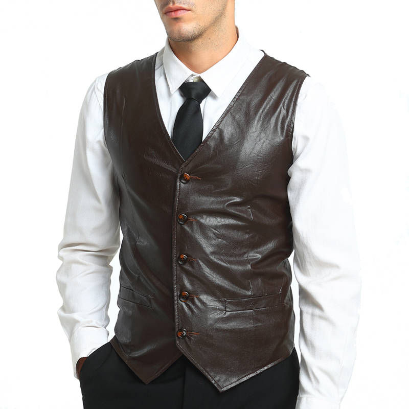 3 colors 2018 Winter PU solid male blazer Vests Men Gentleman Businesswear Slim Casual Waistcoat Formal Vest M XXL Solid MQ330