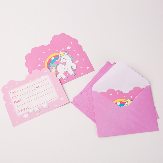 6 Pcs Lot Cute Pink Unicorn Party Invitation Card Birthday Supplies Kids Decoration