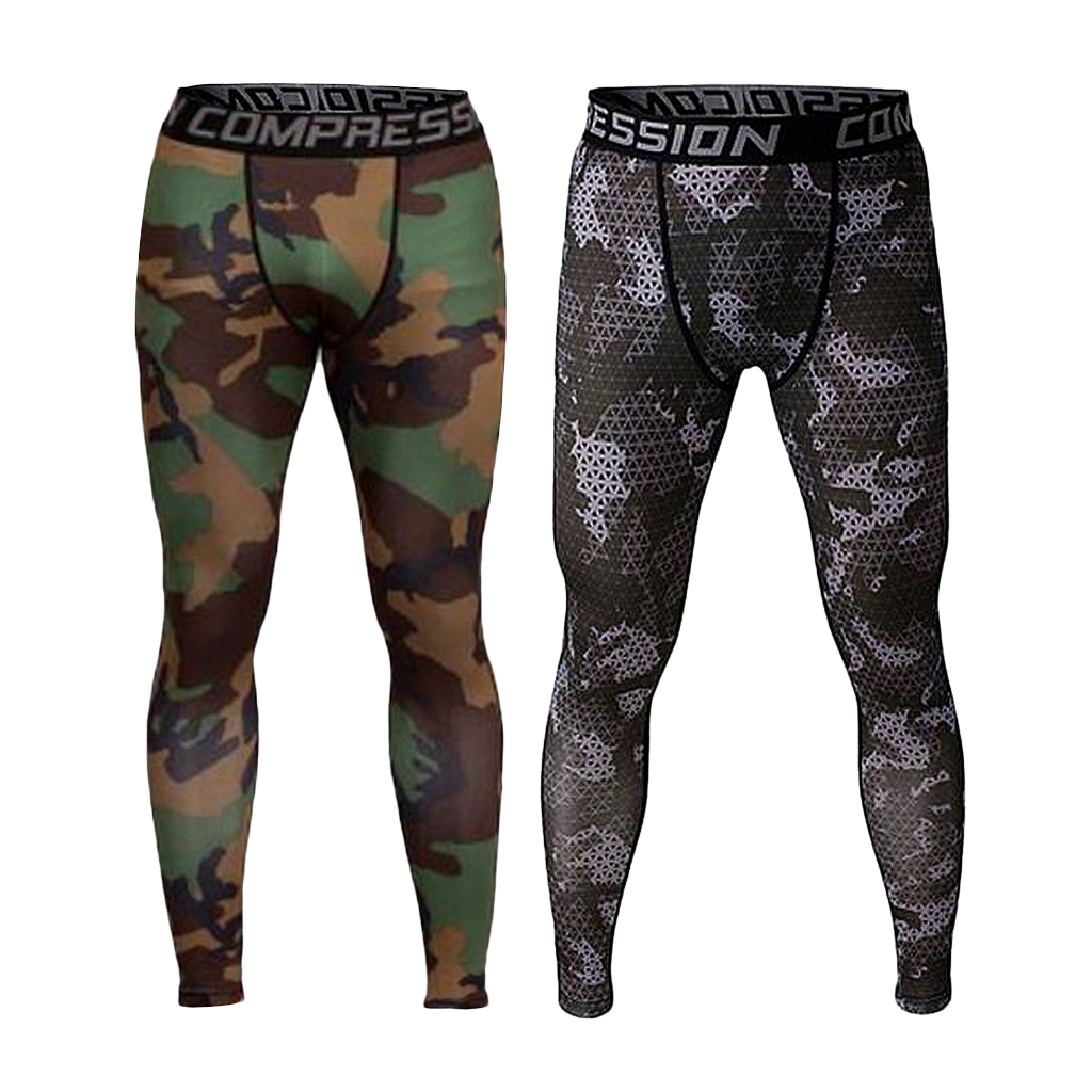 2/pack Men's Camo Stretchy Workouts Leggings Close Fit Sports Pants Apparel