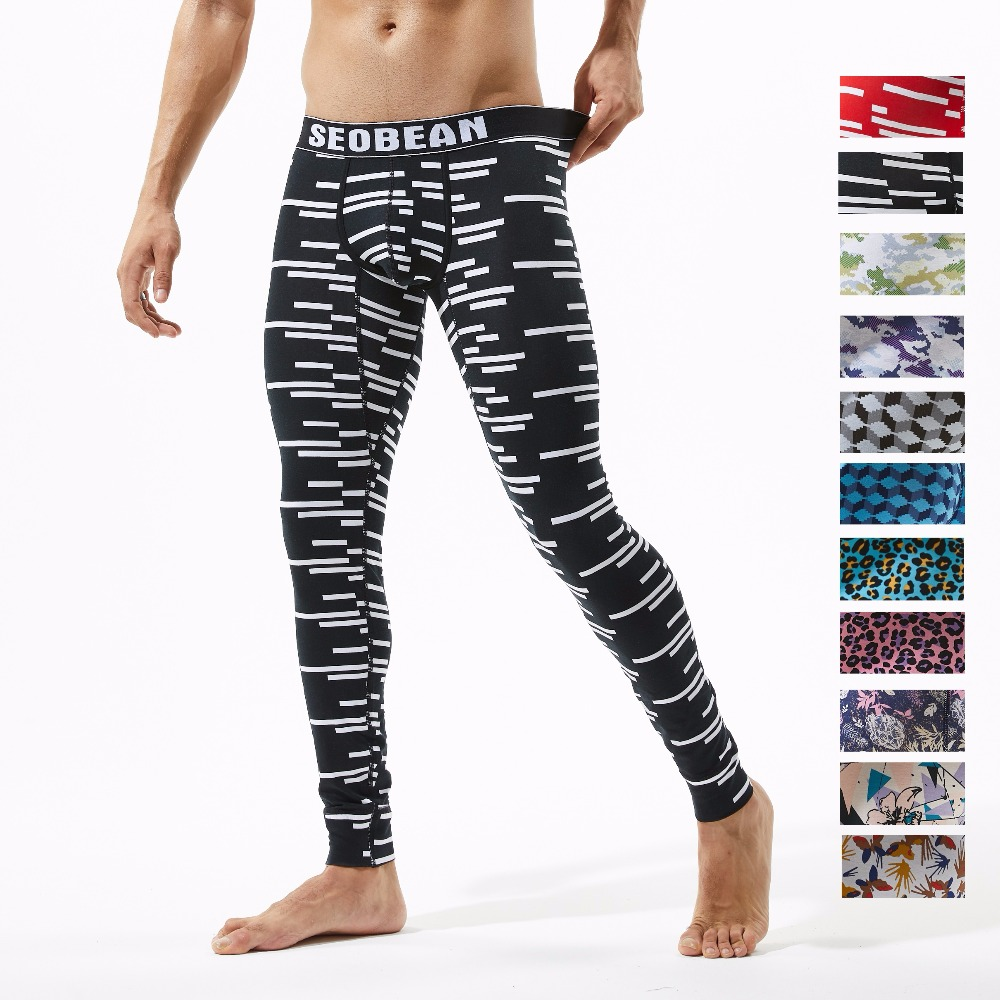 SEOBEAN 2019 Winter Underwear Autumn Men Sexy Long Johns Warm Stretch Thermal Underpants Cotton Spandex Pajama Pants Leggings