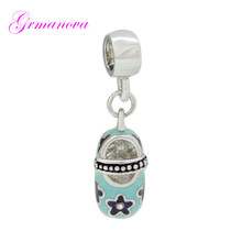 Shoes charm beads blue enamel cloth shoes pendant amulet original brand design Fit Pandora Bracelet Necklace(China)