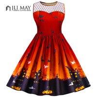 JLI MAY 5XL Plus Size Women Dresses 50s Vintage Dress Print Halloween Party Mesh O Neck