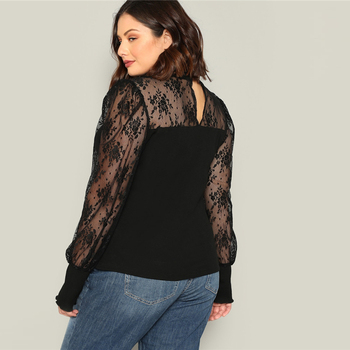 Plus Size Black Mesh Puff Long Sleeve