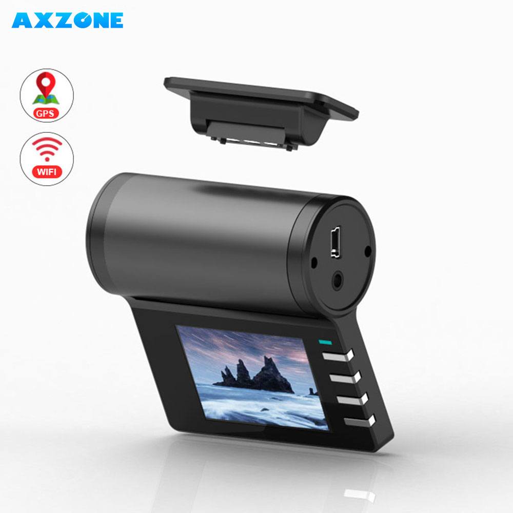 AXZONE Dash Cam GPS WIFI 1080FHD Night Vision Dash Cam Wifi Car Camera Auto Recorder G sensor magnet Holder 24H Parking Monitor