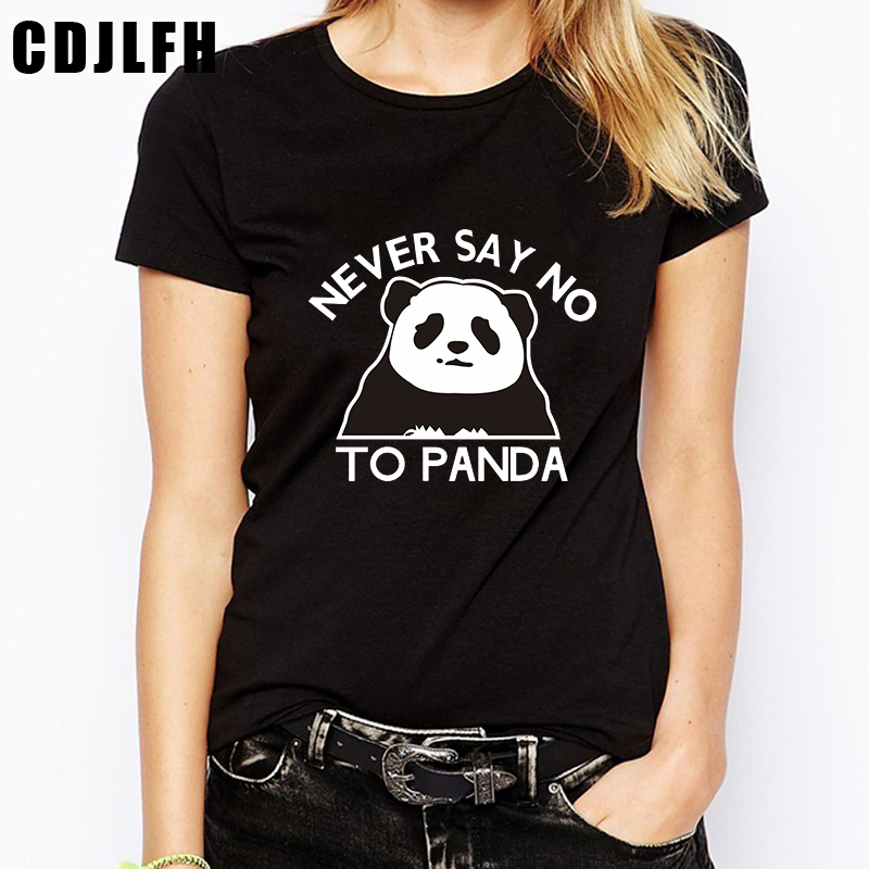 CDJLFH 2018 Kawaii Panda Fashion Vogue Bts Women Tops Funny T Shirts Plus Size T-Shirt Womens Summer Casual Tee Shirt Femme