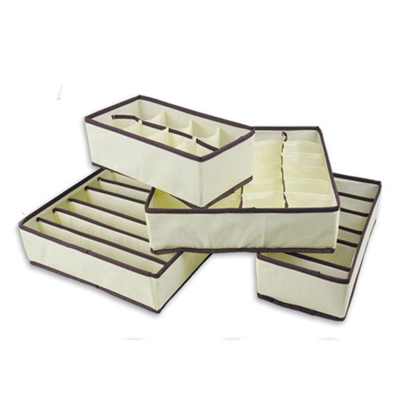 Hot Selling 6/7/8/24 Cells Drawer Divider Folding Bra Underwear Storage Box Non-Woven+Cardboard Beige Ties Socks Storage Drawers
