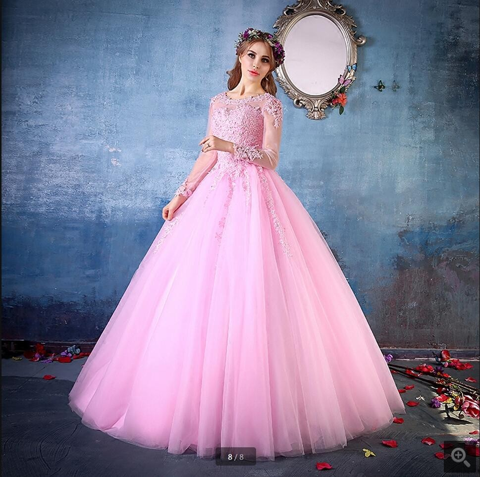 2017 Pink Ball Gown Prom Dresses Long Sleeves Corset Back Beaded ...