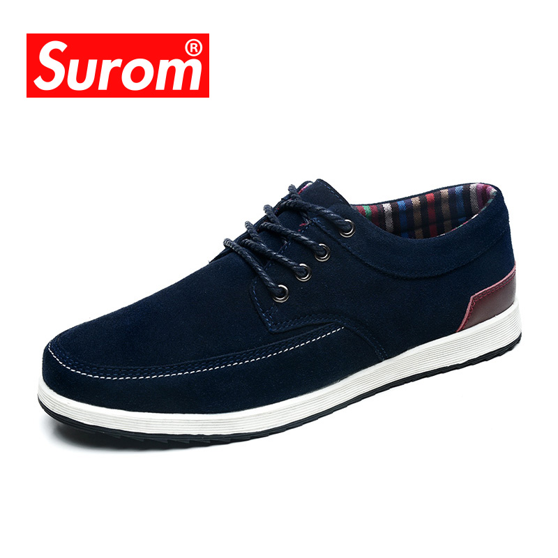 SUROM Men's Leather Casual Shoes Luxury Brand Spring New Fashion Sneakers Men Loafers Adult Moccasins Male Suede Shoes Krasovki 2018 spring genuine leather loafers men casual shoes lace up luxury fashion male handmade moccasins driving footwear xxz5