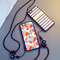 Colorido pc phone case para iphone 5 5s 6 6 s plus geométrica padrões de corda no pescoço telefone capa para iphone 5 5s 6 6 s plus
