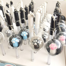 1X Creative Cute Cat Paw Crystal Ball Pendant Gel Pen Rollerball Pen School Office Supply Student Stationery 0.5mm Black Ink(China)